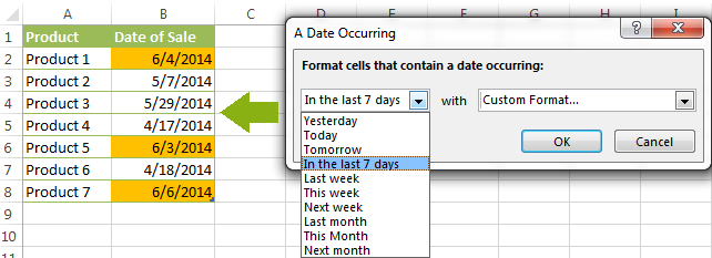 Highlight cells in Excel with dates occurring in the last 7 days.