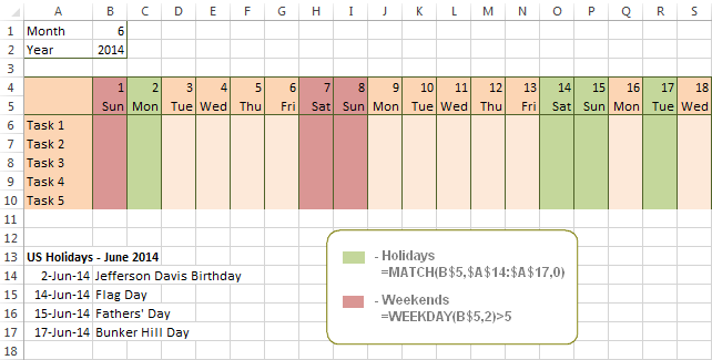 Conditional formatting formula to highlight holidays in Excel.