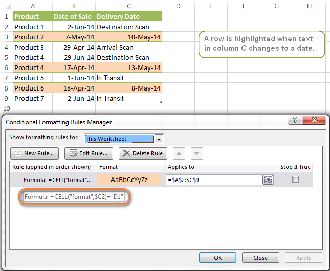 A row is highlighted when text in column C is changed to a date.