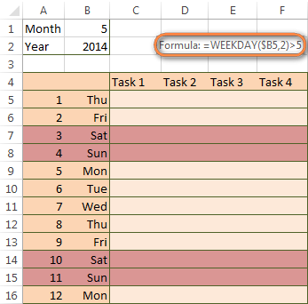 Excel conditional formatting formula to highlight weekends in a vertical orientation calendar.
