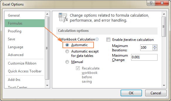 Another way to turn on the Automatic Calculation setting.