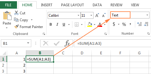 A formula formatted as text is not calculating.