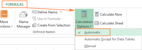 For Excel formulas to update automatically, enable 'Automatic' under Calculation Options.
