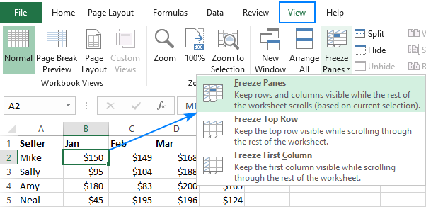 Freezing top row and first column in Excel.