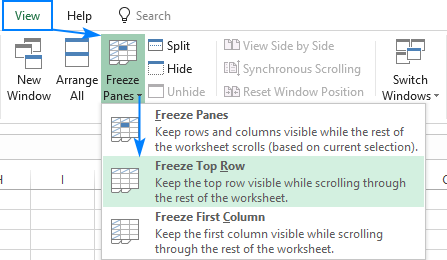 Freeze top row in Excel