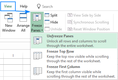 Unlock frozen rows and columns in Excel.