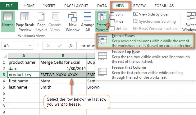 How to freeze panes in Excel 2013 and 2010 to lock rows and columns
