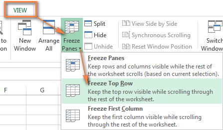 Freezing the top row in Excel