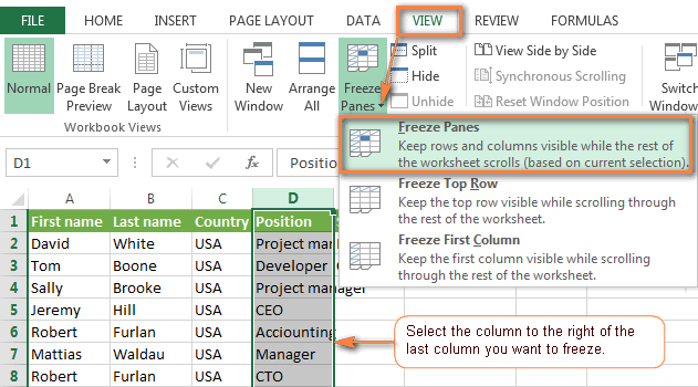 Freezing several columns in Excel