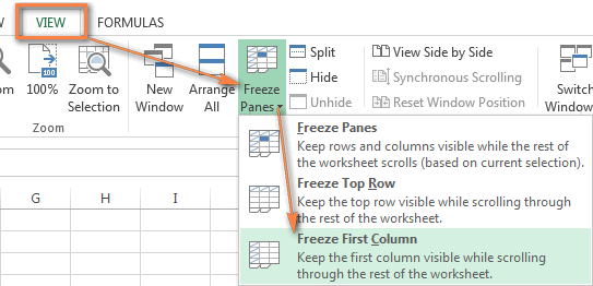 Freeze the first column in Excel.
