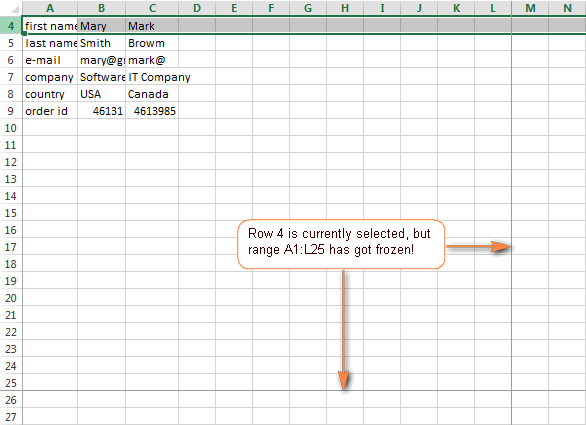 Excel may freeze panes in a different way than you expected.