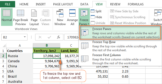Freezing the top row and first column in Excel.