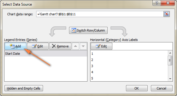 Click the Add button to select more data for the Gantt chart.