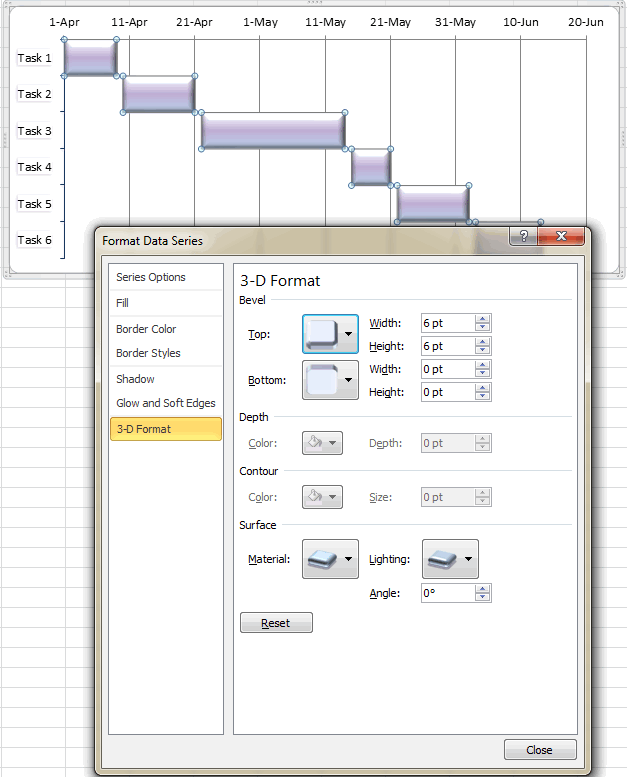 Design your Excel Gant chart in different ways.