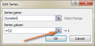 Click the range selection icon to add the Series Values.