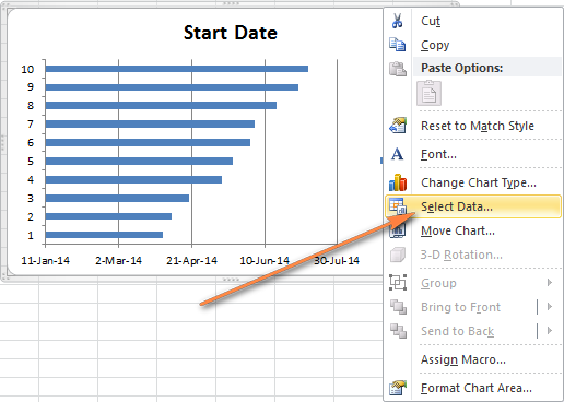 How to make gantt chart in excel step by step guidance and templates right click anywhere within the chart area and choose select data ccuart Images