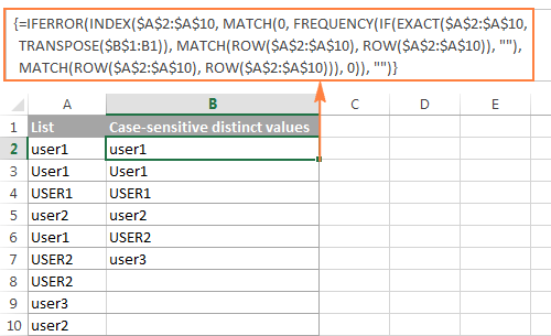 Array formula to get case-sensitive distinct values in Excel