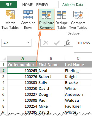 Select any cell within the source table and click the Duplicate Remover button on the ribbon.