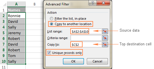 Configure the Advanced Filter options.