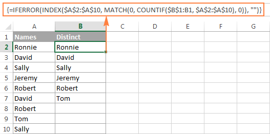 An array formula to get a list of distinct values in Excel