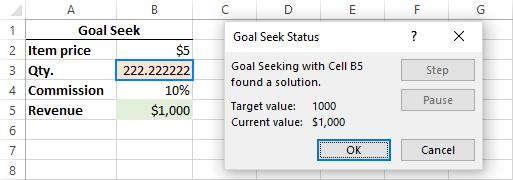 Goal Seek result