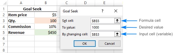 Using Goal Seek in Excel to get the desired formula result