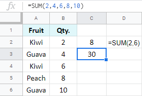 Add multiple numbers directly within the formula.