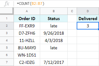 How to count in Google Sheets.