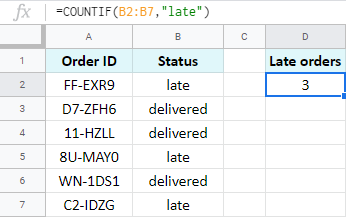 Count orders based on criteria.
