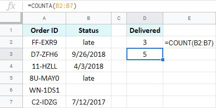 Google Sheets: count non-empty cells.