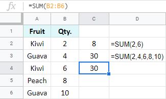 Add up range in Google Sheets.