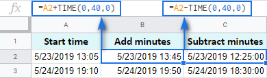 Add and subtract 40 minutes with the TIME function.