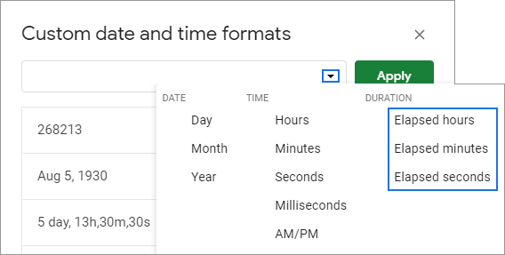 Duration formats in Google Sheets - elapsed time units.