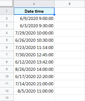 A column with data formatted as Date time.