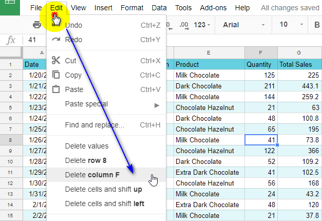 Delete a column from a spreadsheet using the main menu.
