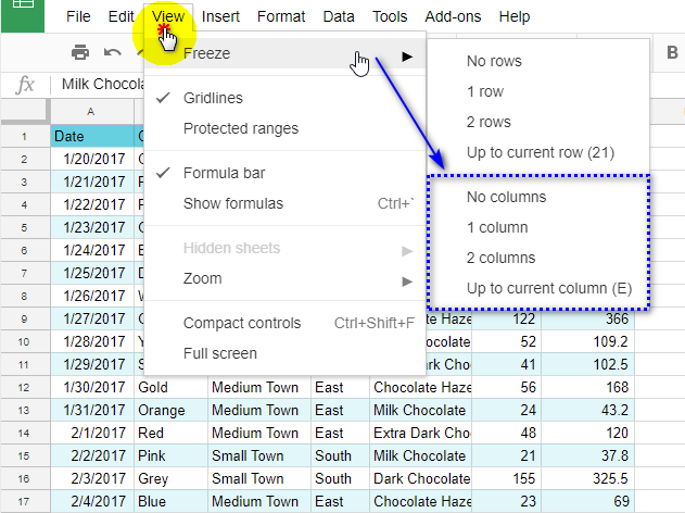 Freeze columns in Google Sheets.