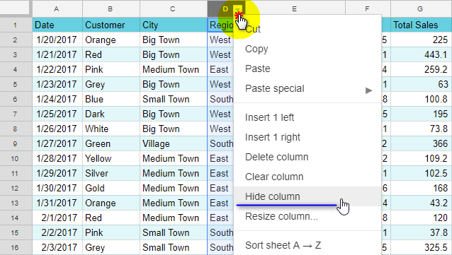 Hide a column in Google Sheets.