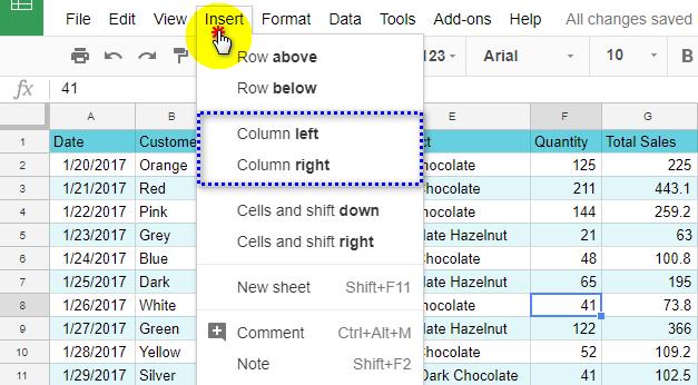 Insert a column from Google Sheets main menu.