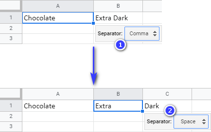 Split text to columns by comma first and then by space.