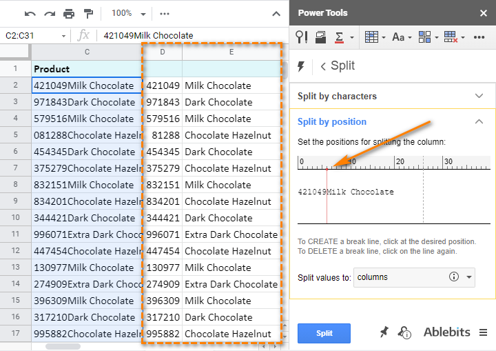 Split text by position in Google Sheets with Power Tools.