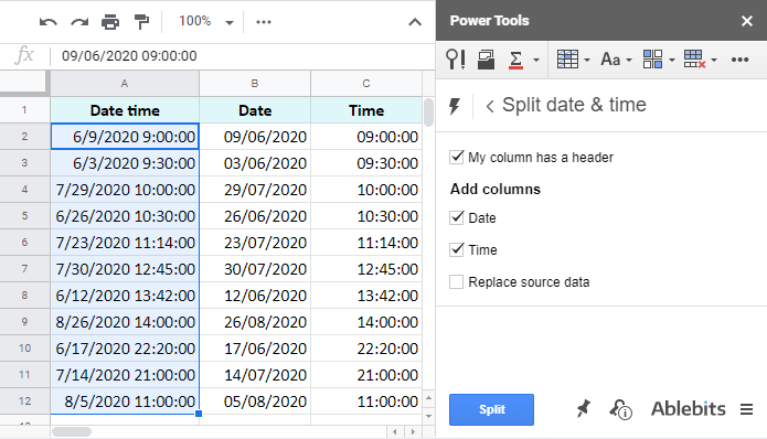 Date and time units split to different columns.