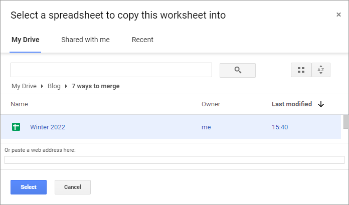 Locate the spreadsheet to import data into.