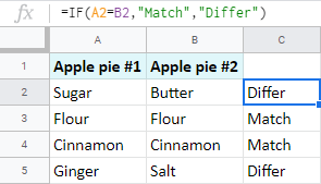 Identify pairs of cells with the IF function.