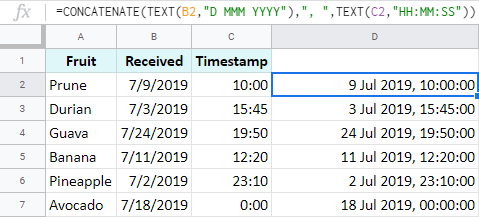 Combine date and time with other chars and text in Google Sheets.