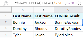 Array formula to combine two columns in Google Sheets.