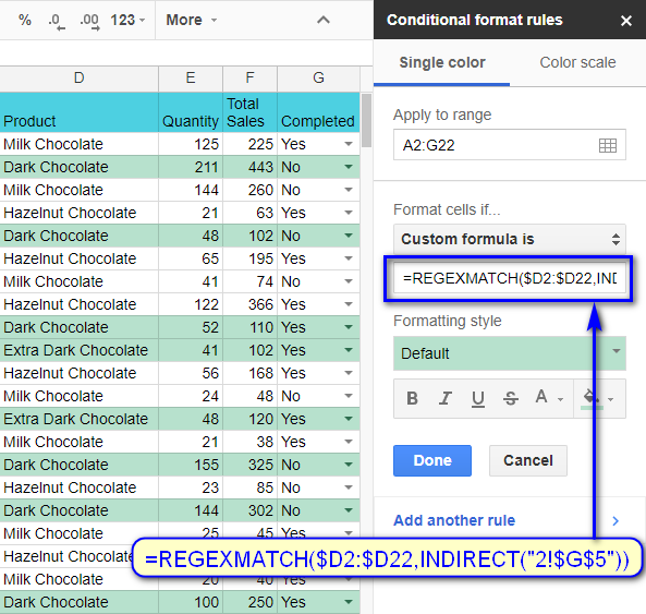Format entire rows based on the value in another cell in Google Sheets