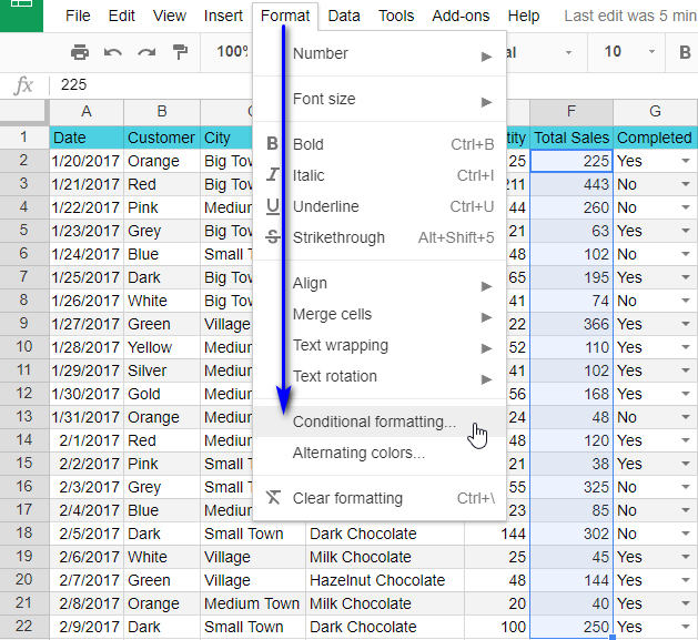 Find Conditional formatting item in the standard Google Sheets menu