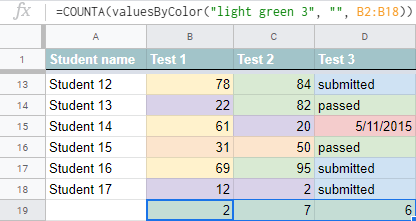 The function shows how many green cells are in each column.