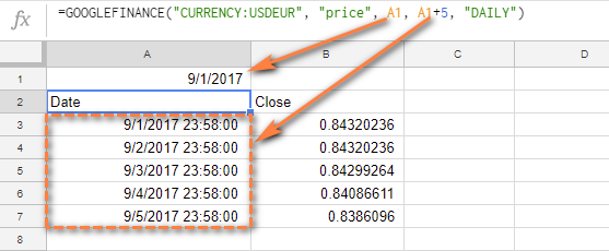 Cell References Instead Of Dates In Googlefinance