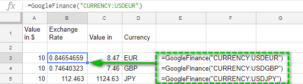 Get Cur Exchange Rates With Googlefinance